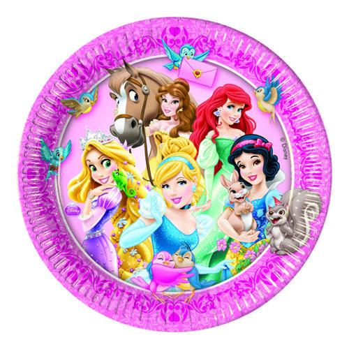 Тарелки бумажные 23 см Принцессы и животные 8 штук