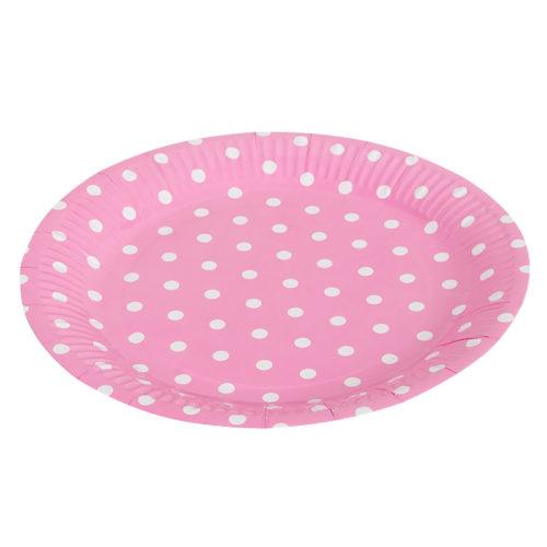 Тарелки бумажные 23 см Розовые точки 6 штук