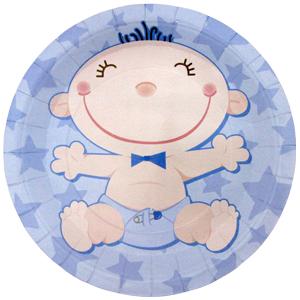 Тарелки бумажные 23 см С днем Рождения Малыш голубые 6 штук