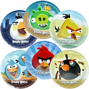 Тарелки бумажные 23 см Angry Birds 6 штук