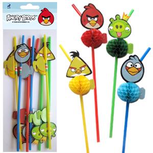 Трубочки для коктейля Angry Birds 6 штук