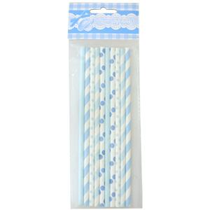 Трубочки для коктейля бумажные голубое ассорти 10 шт