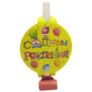 Язычки-гудки с карточкой С Днем Рождения 6 штук