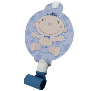 Язычки-гудки с карточкой С днем Рождения Малыш голубые 6 штук