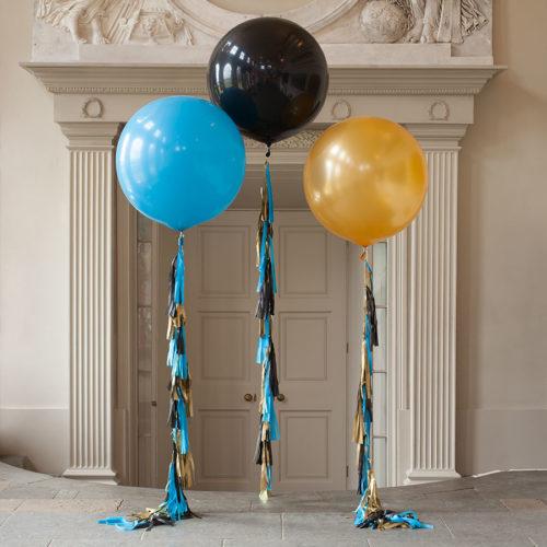 Большие шары 90 см Голубой Черный и Золото с Гирляндой тассл
