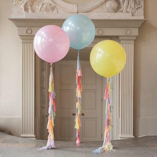 Большие шары 90 см в нежных тонах Розовый Голубой и Желтый с Гирляндой тассл