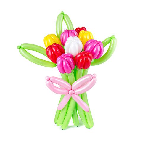 Букет из 9 разноцветных тюльпанов из воздушных шаров