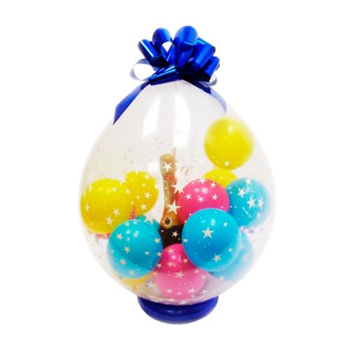 Шар сюрприз с шарами и бантом малый