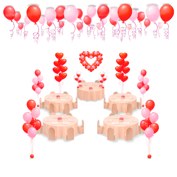 Оформление свадьбы шарами Комплект С сердцем