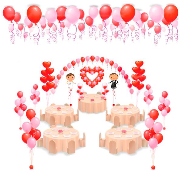 Оформление свадьбы шарами С Женихом и Невестой и сердцами