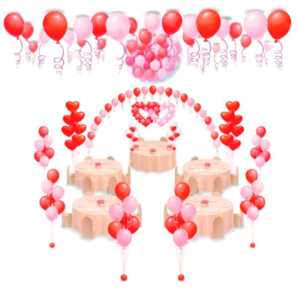 Оформление свадьбы шарами Комплект С двойным сердцем и Шаром-сюрпризом