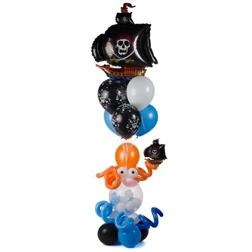 Связка шаров с пиратским кораблем и осьминогом