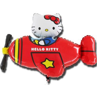 Шар 35 см Мини-фигура Hello Kitty самолет красный