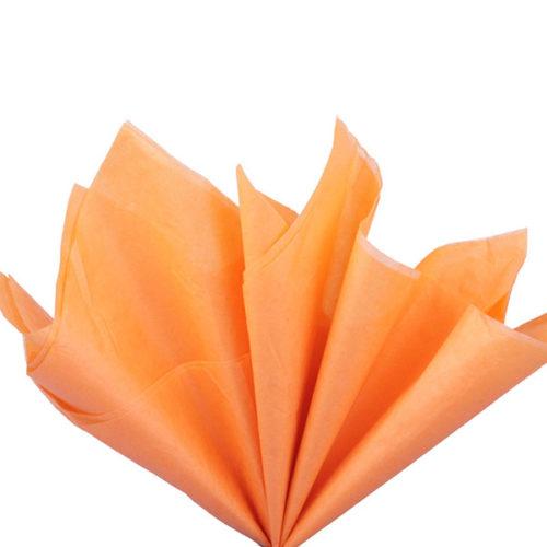 Бумага тишью 76 х 50 см светло-оранжевая 10 листов