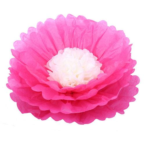 Бумажный цветок 40 см амарантовый + бежевый