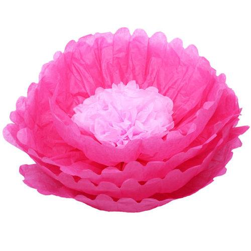 Бумажный цветок 40 см амарантовый + розовый