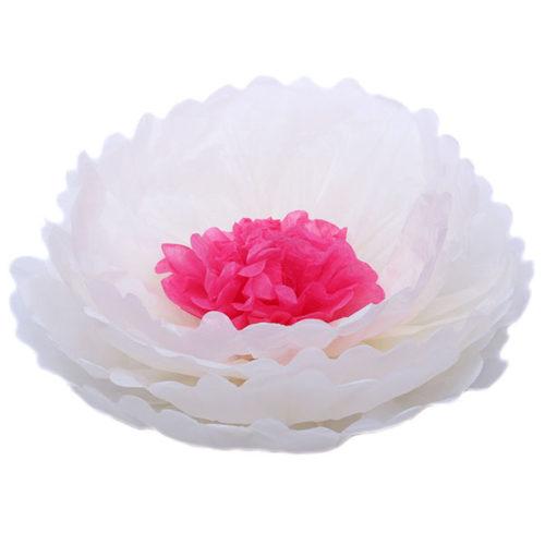 Бумажный цветок 40 см бежевый + амарантовый