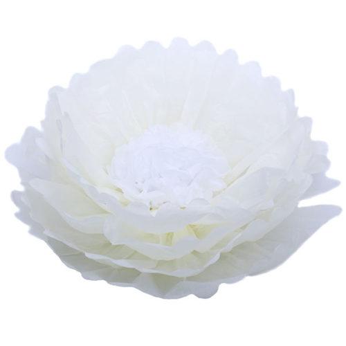 Бумажный цветок 40 см бежевый + белый
