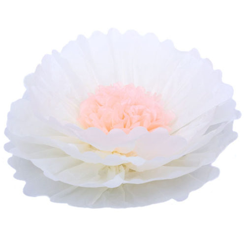 Бумажный цветок 40 см бежевый + персиковый