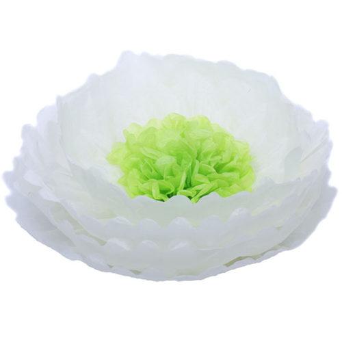 Бумажный цветок 40 см бежевый + салатовый