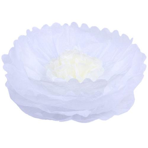 Бумажный цветок 40 см белый + бежевый