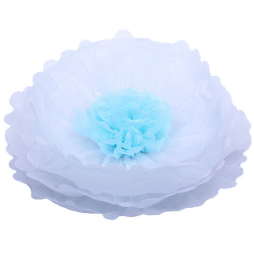 Бумажный цветок 40 см белый + голубой