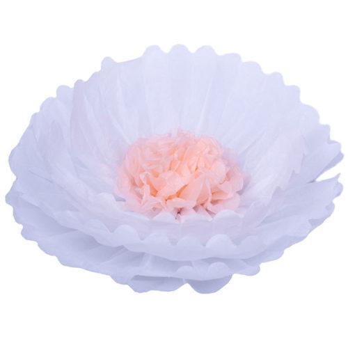 Бумажный цветок 40 см белый + персиковый