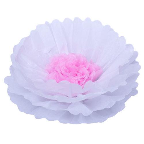 Бумажный цветок 40 см белый + розовый