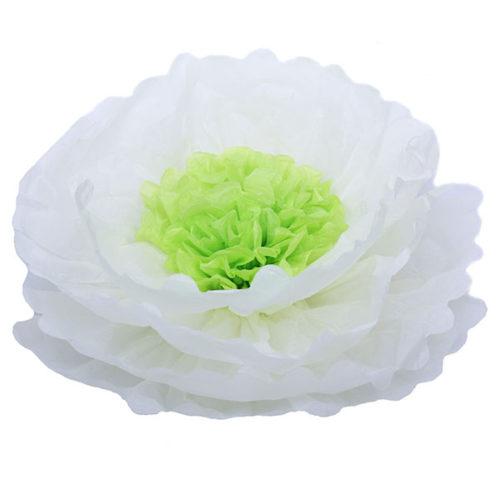 Бумажный цветок 40 см белый + салатовый