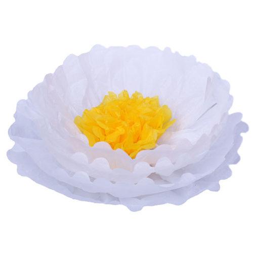 Бумажный цветок 40 см белый + ярко-желтый