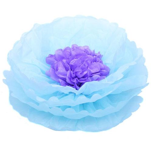 Бумажный цветок 40 см голубой + светло-сиреневый