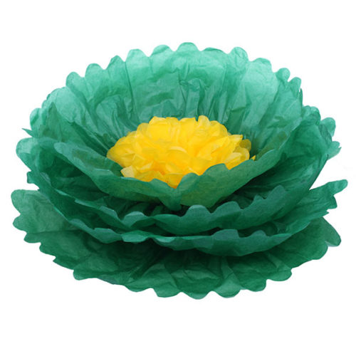 Бумажный цветок 40 см зеленый + желтый