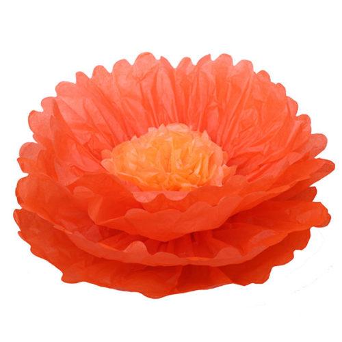 Бумажный цветок 40 см оранжевый + светло-оранжевый