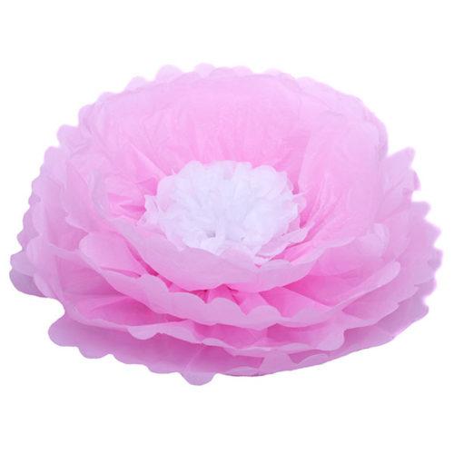 Бумажный цветок 40 см розовый + белый