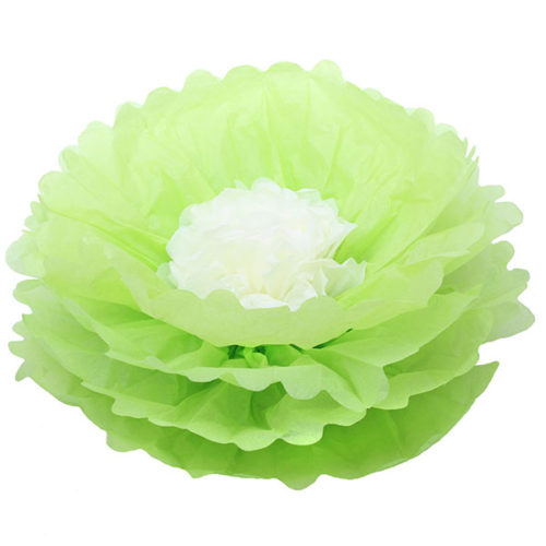 Бумажный цветок 40 см салатовый + бежевый