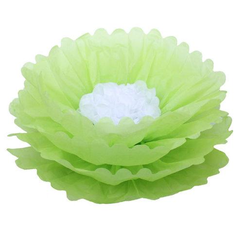 Бумажный цветок 40 см салатовый + белый