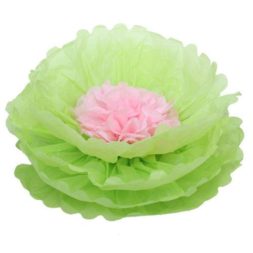 Бумажный цветок 40 см салатовый + светло-розовый
