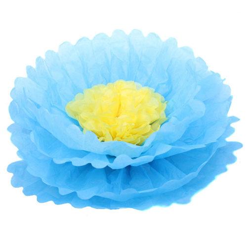 Бумажный цветок 40 см синий + желтый