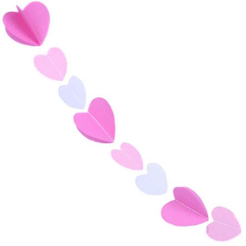 Гирлянда 3D Сердечки малиново-розово-белая 165 см