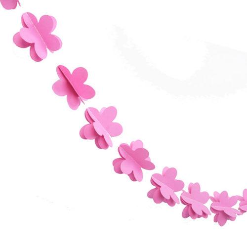 Гирлянда 3D Цветочки малиновая 165 см
