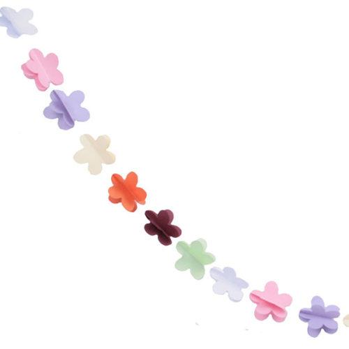 Гирлянда 3D Цветочки разноцветная 165 см