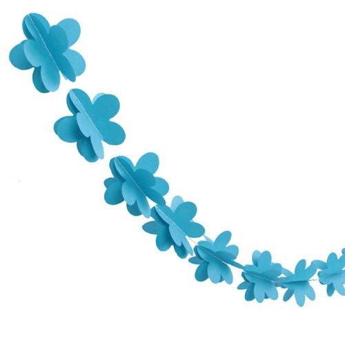 Гирлянда 3D Цветочки синяя 165 см