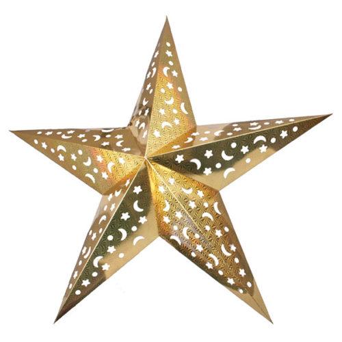Звезда бумажная 120 см голографическая золотая