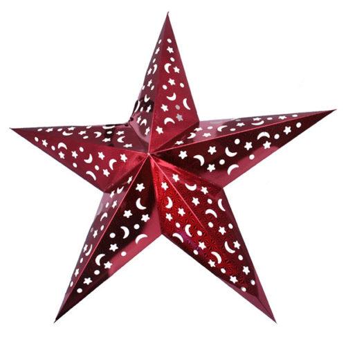 Звезда бумажная 120 см голографическая красная