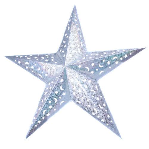 Звезда бумажная 120 см голографическая серебряная