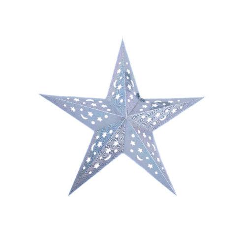 Звезда бумажная 45 см голографическая серебряная