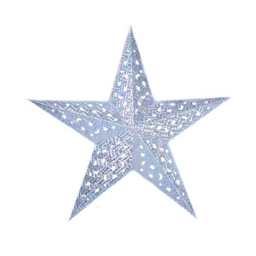 Звезда бумажная 60 см голографическая серебряная