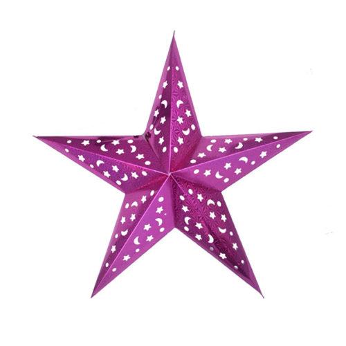 Звезда бумажная 60 см голографическая сливовая