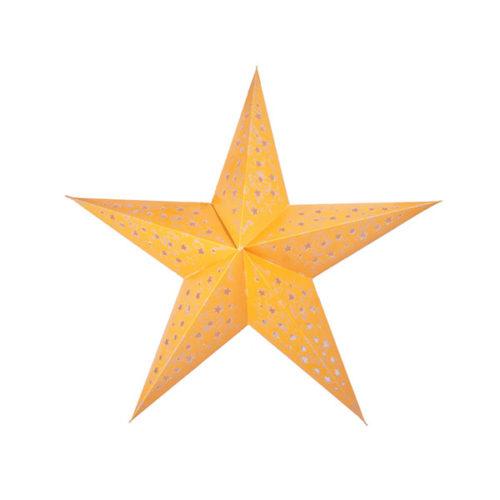 Звезда бумажная 60 см с рисунком желтая