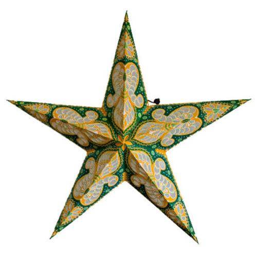 Звезда бумажная 60 см с рисунком зеленый + оранжевый